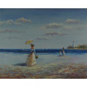 Slika na platnu – Sprehod ob morju